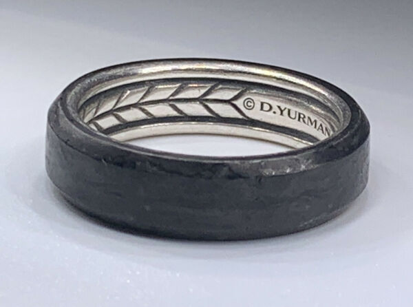 David Yurman Forged Carbon and Sterling Silver Ring 6mm Size 10 $275.00