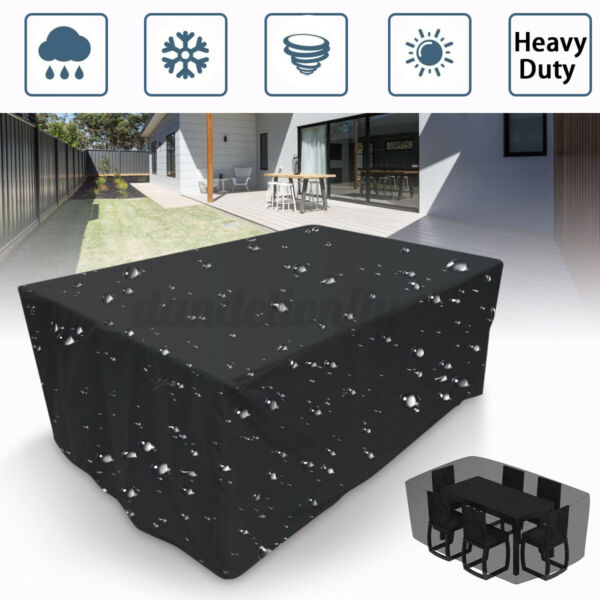 Waterproof Dustproof Patio Furniture Covers Rectangle Table Rain Cov T r
