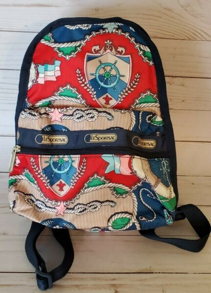 LeSportsac Small Carrier Backpack Mini Nautical Cruise Theme Handbag Navy Blue $24.95