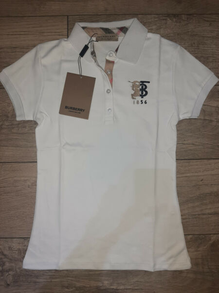 Burberry Women T shirt White Polo Short Sleeve $45.00