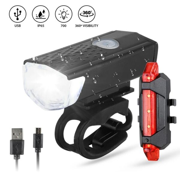 USB Rechargeable LED Bicycle Headlight Bike Head Light Front Rear Lamp Cycling $6.99