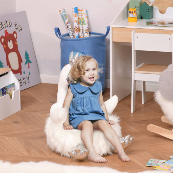 Sofa for Kids Stuffed Cartoon Swan Portable for Toddler 18 36 Months White $59.99