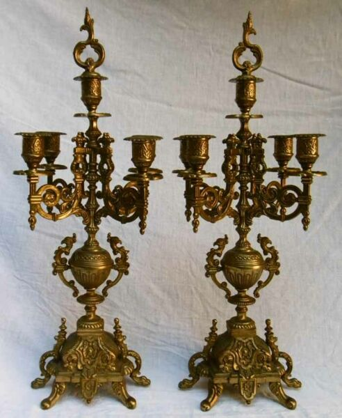 Pair Of Candelabra A Support Fireplace Antique Bronze