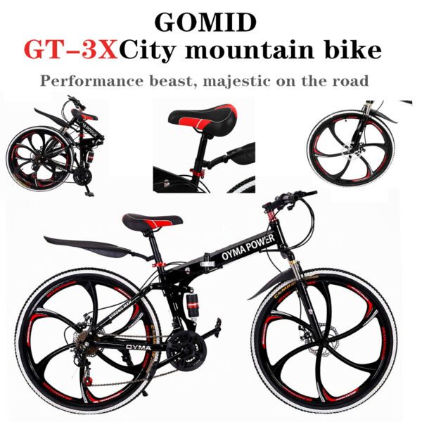 OYMA POWER 26quot; Outroad Bike Foldable Mountain Bicycle Full Suspension 21 Speed $209.99