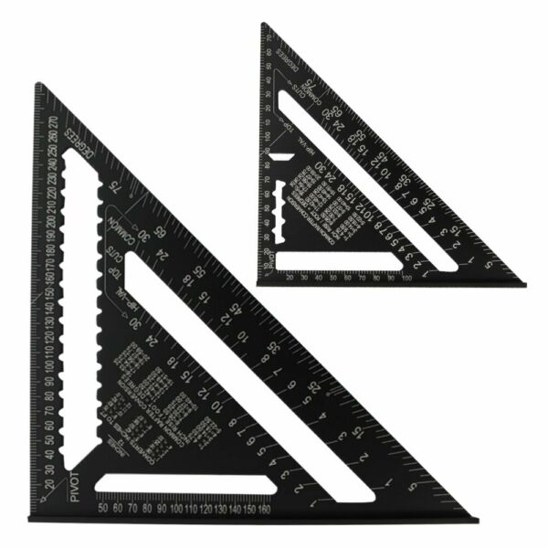 7 12quot;Metric Aluminum Alloy Speed Square Triangle Angle Protractor Guide Ruler LN