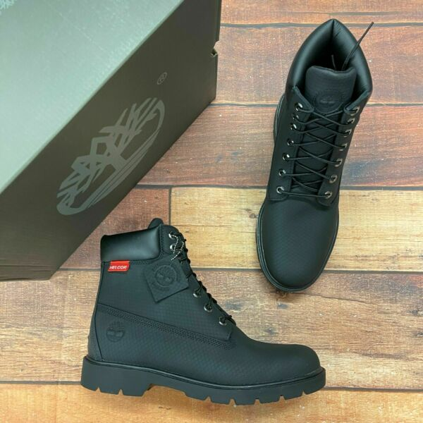 Timberland Men#x27;s Classic 6 Inch Black Helcor Leather Boots 6335A $188.95