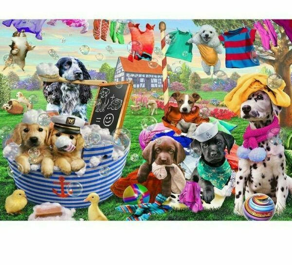 Diamond Painting DIY Dogs Taking A Bath Cute Pet Animals Design House Embroidery $12.59