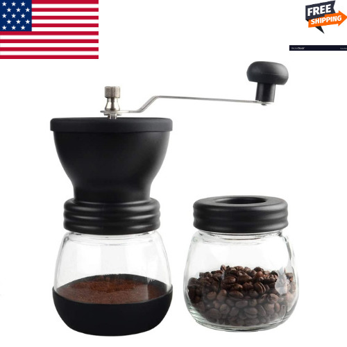 Manual Coffee Grinder Hand Coffee Grinder Mill with Ceramic Burrs 2 Clear Jars