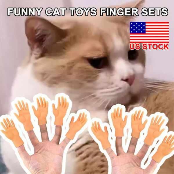Finger Puppet Rubber Little Tiny Finger Hands Fake Hand For Cat Prop Accessories $5.49