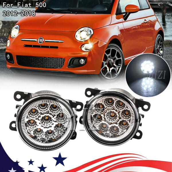 Fog Light For Fiat 500 2012 2018 Pair Clear Bumper Driving Lamp Housing Assembly