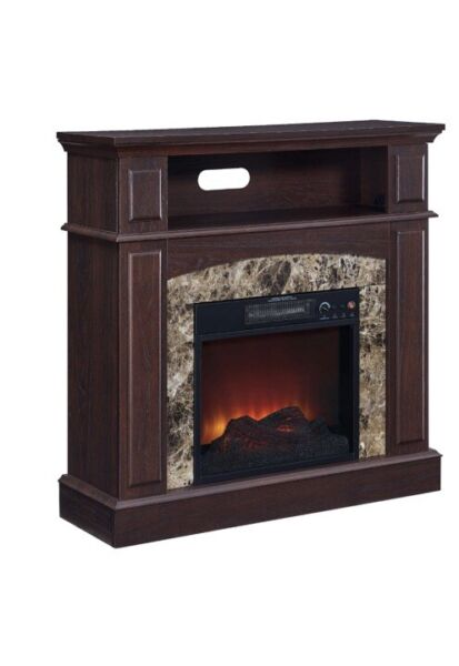New 36 inch Faux Marble Electric Fireplace in Walnut
