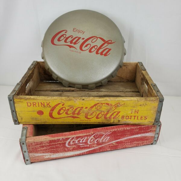 Vintage Coca Cola Wooden Crates Yellow amp; Red amp; Cushion Coke