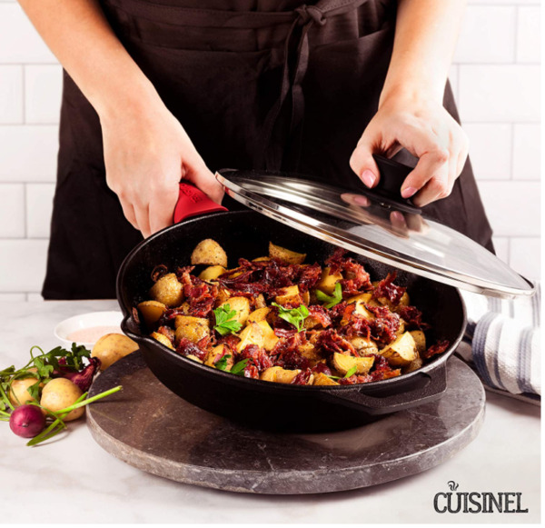 Cast Iron Skillet 10 Inch with Glass Lid and Handle Cover Oven Safe Cookware