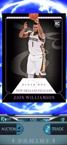 zion williamson 2019 NBA Dunk Black Box RC 4 100 Digital Card