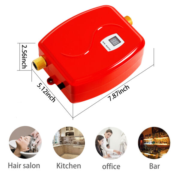 3000W Mini Electric Hot Water Heater Tankless Instant Water Heater Kitchen Red $57.01