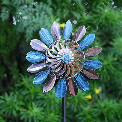Wind Spinners Metal Large Spinner Solar Light Kinetic Garden Outdoor Lighted New $64.35