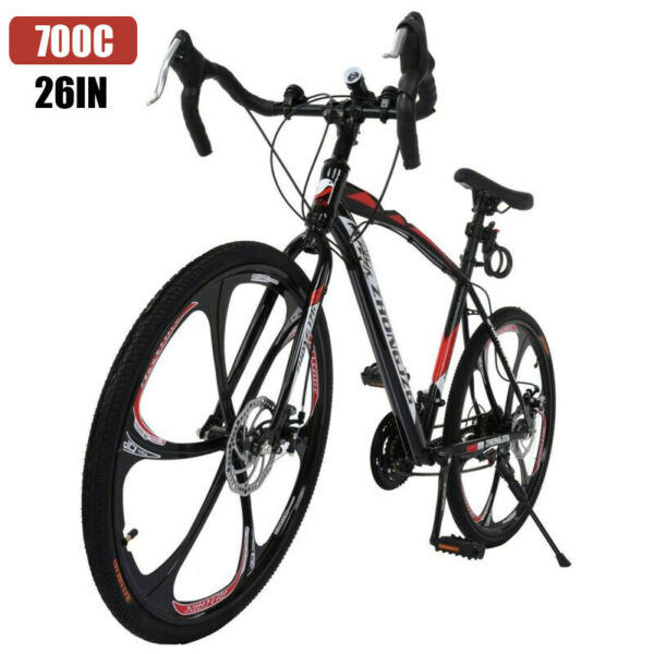 Commuters Road Bike Aluminum Full Suspension 21 Speed Disc Brakes 700c Bicycle $175.89