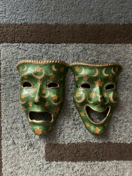 Vintage Brass Comedy Tragedy Masks Wall Decor Theater Drama India Ex Condition