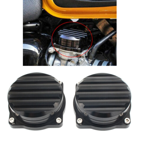 2x Motorcycle Injection Carburetor Cover Lid CNC Carb Tops for Triumph Black $24.98