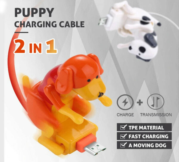 Funny Humping Dog Fast Charging Cable Moving Spotty Dog Smartphone Accessories $16.99