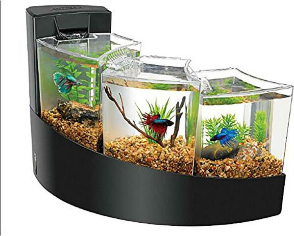 Aqueon Betta Tank Aquarium Three Tier Waterfall Bettas Fish Tank Black Acrylic $70.88