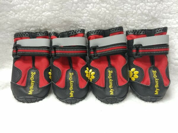 My Busy Dog Waterproof Dog Shoes Boots Red Black Size 5 for Medium Dogs $14.40