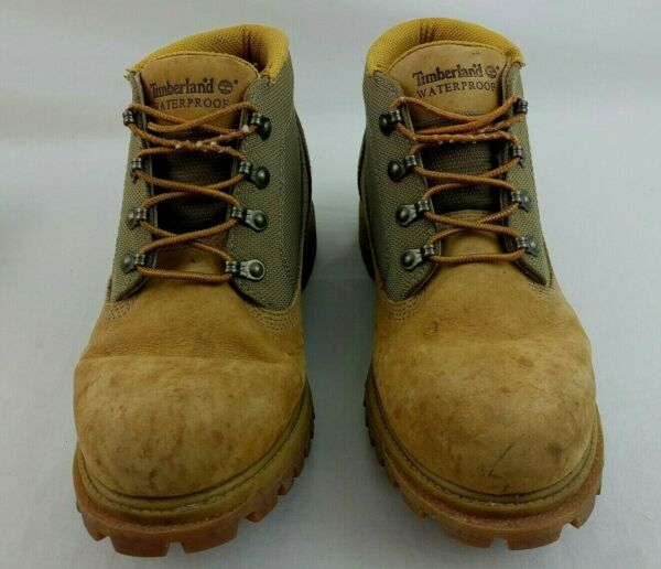 Timberland Hiking Work Boots Mens 9.5 Tan Nubuck Leather Low Waterproof 12038 $29.95