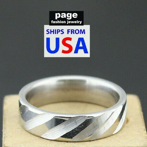 Unique Design Polished W Brushed Groves Stainless Steel Rings Sizes 7 11.5 $3.99