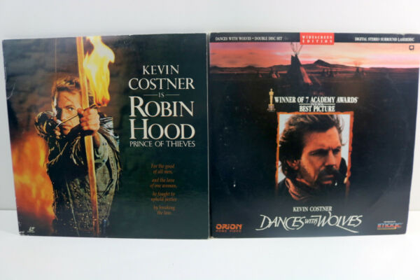 Kevin Cost 2 Laserdisc Lot = Robin Hood = Dances with Wolves = Widescreen $18.99