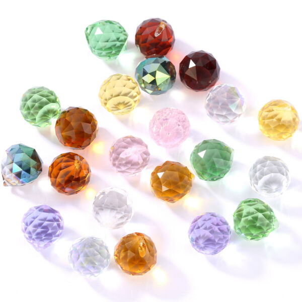 5Pcs Faceted Crystal Glass Loose Spacer Beads Pendant Charm 20x22mm DIY C $5.93