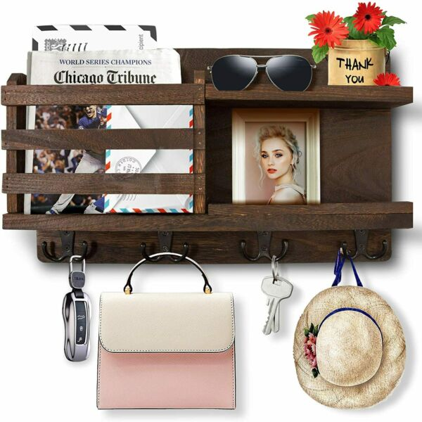 Key Holder Wall Mounted Organizer Mail Rack Key Hooks Wooden Home Decor Brown $18.40