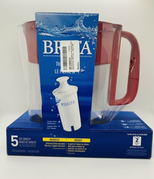 Brita Soho 5 Cup Water Filter Pitcher Red New