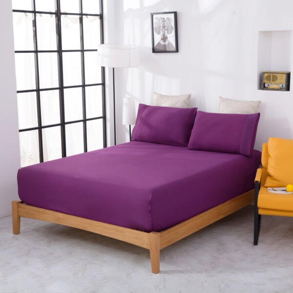Queen Size Bed Sheets Set Microfiber 1800 Thread Count 4 Pcs Purple Bed Sheets $22.64