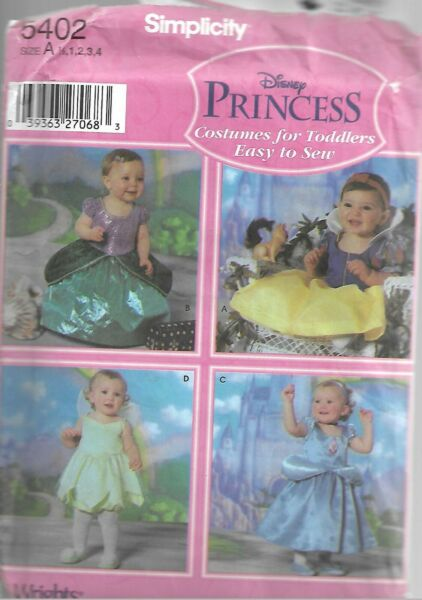 Simplicity Disney Princess Pattern #5402 Costumes For Toddlers Sz 1 2 4 $5.95