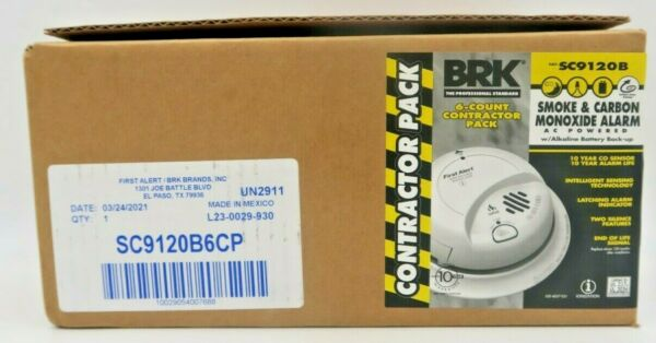 BRK 6 Count Contractor Pack Smoke amp; Carbon Monoxide Alarms SC9120B New in Box $134.99