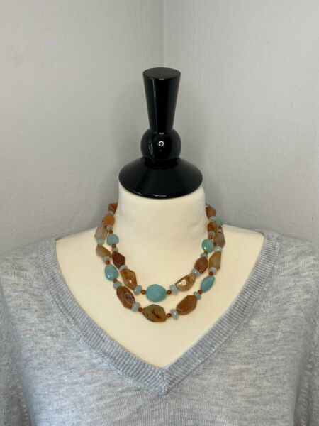 EUC Amber and Turquoise Choker Necklace Double Stand $425.00