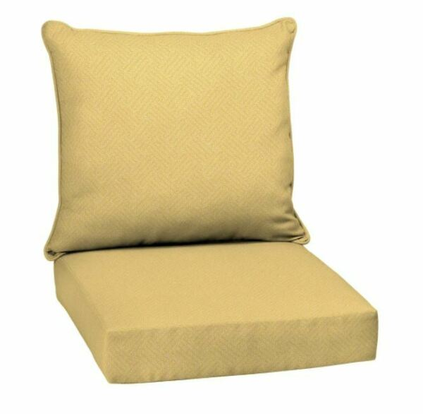 New Yellow Out Door Chair Deep Seat Back Cushion Pad Set Patio Furniture Cheap $31.74