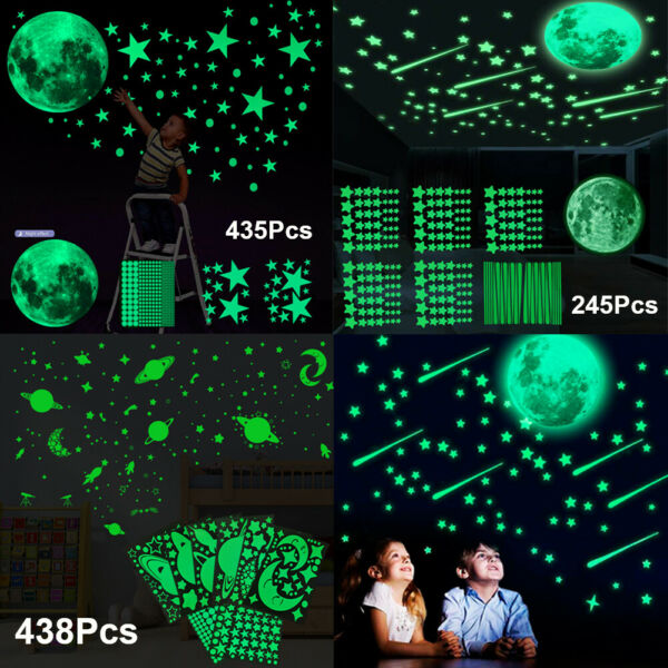 3D Glow In The Dark Luminous Stars Moon Wall Stickers Space Kid Ceiling Decor US $8.99