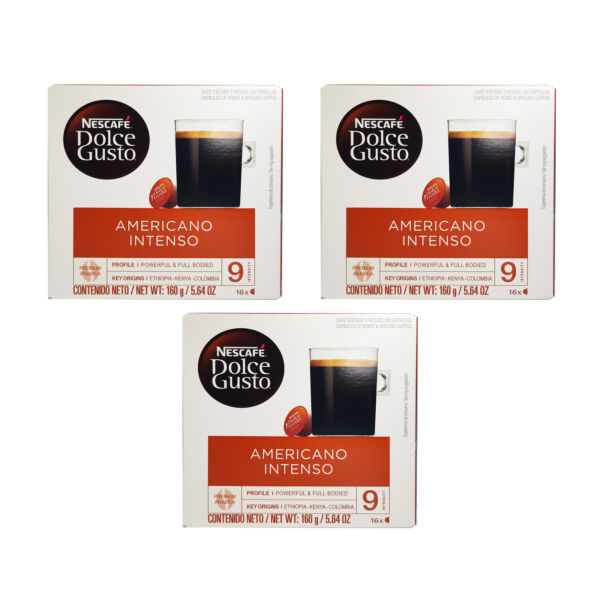 Nescafe Dolce Gusto Coffee Pods Americano Intenso 16ct 3 Pack Exp. 04 2021