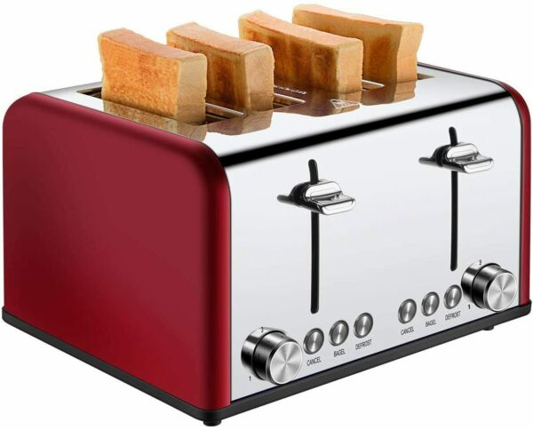 Cusibox 4 Slice Toaster Stainless Steel Toaster Auto with 7 Red