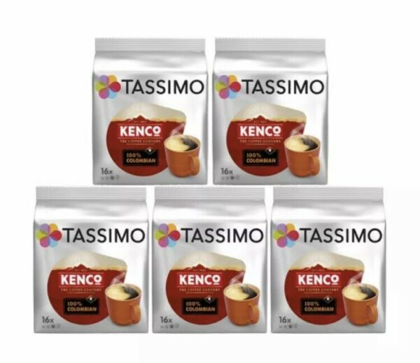 Tassimo T Discs Kenco Colombian Coffee 5 x 16 Pods 80 Drinks