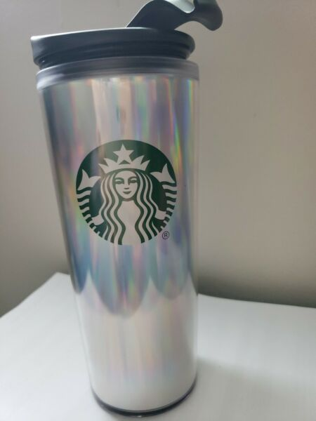Starbucks Tumbler Silver Iridescent Holographic 16 Oz Grande with Lid Hot used