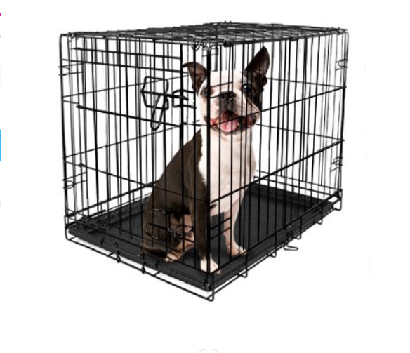 Folding Dog Crate Kennel Pet Cage Single Door w Divider Tray Black Metal 24quot; $35.85