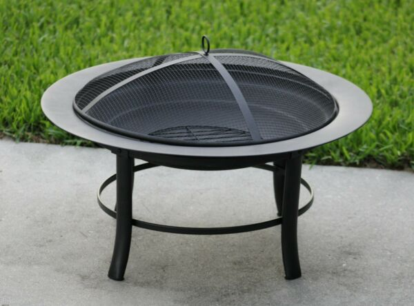 28quot; Round Outdoor Wood Burning Fire Pit Backyard Patio Black W Mesh Spark Guard $39.99