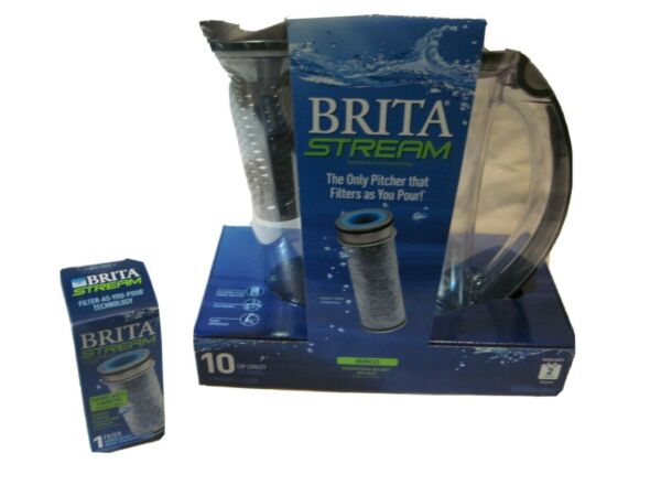 BRITA Stream BRAND NEW Filter As You Pour Pitcher 10 Cup with 2 Filters