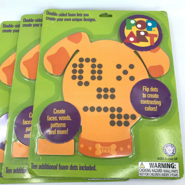Hog Wild Pop Art Sit Spot Dog Foam Toy x 3 NEW 9in Create Faces Words Extra Dots $30.00