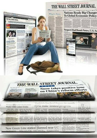 Wall Street Journal Subscription Print with Digi 1 Year WSJ 4 5 DAY START TIME $115.24