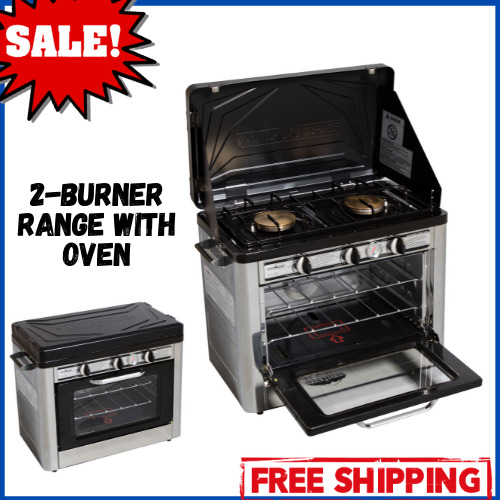 2 Burner Propane Stove with Oven Portable Steel Outdoor Camping Patio Cooking