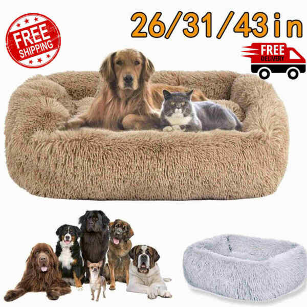 Dog Beds Large Dogs Large Medium Small Dog Long Plush Calming Bed S M L XL XXL $38.89