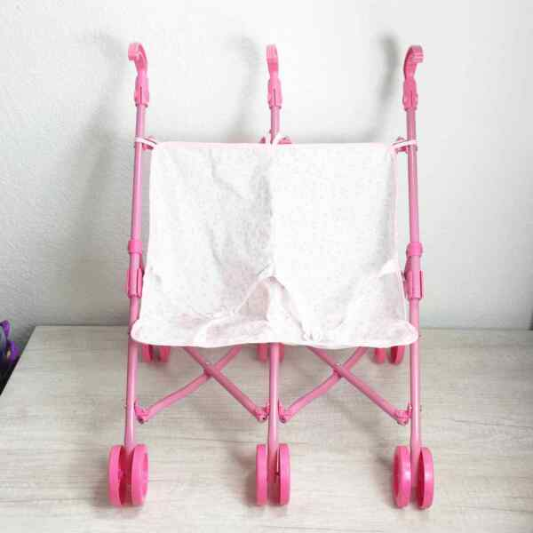 Pink Double Twin Doll Side by Side Toy Stroller Collapsible Folding $30.00